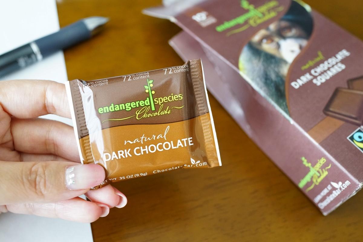 アイハーブ Endangered ミルクチョコ好きでも食べられるダークチョコ カカオ72%レビュー 中身の説明参考画像